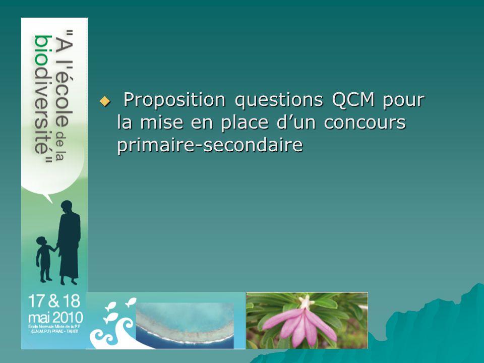  Proposition questions QCM pour la mise en place d'un concours primaire-secondaire