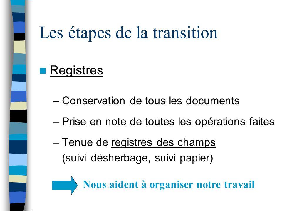 Les étapes de la transition Registres –Conservation de tous les documents –Prise en note de toutes les opérations faites –Tenue de registres des champs (suivi désherbage, suivi papier) Nous aident à organiser notre travail