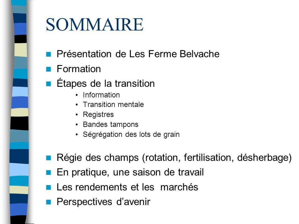 SOMMAIRE Présentation de Les Ferme Belvache Formation Étapes de la transition Information Transition mentale Registres Bandes tampons Ségrégation des