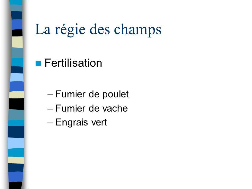 La régie des champs Fertilisation –Fumier de poulet –Fumier de vache –Engrais vert