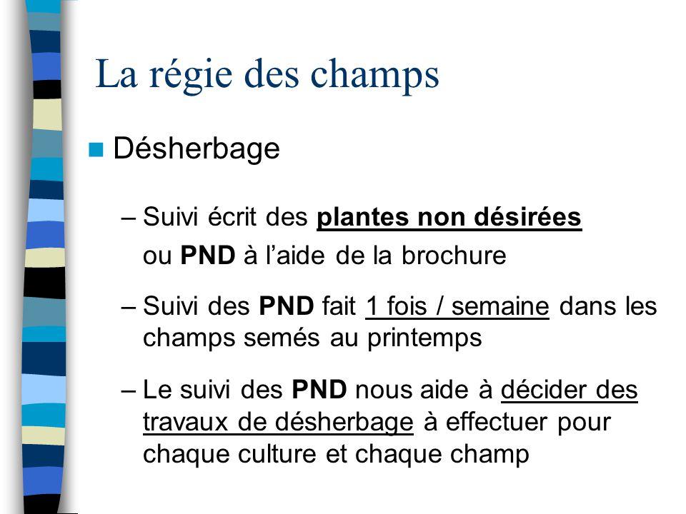 La régie des champs Désherbage –Suivi écrit des plantes non désirées ou PND à l'aide de la brochure –Suivi des PND fait 1 fois / semaine dans les cham