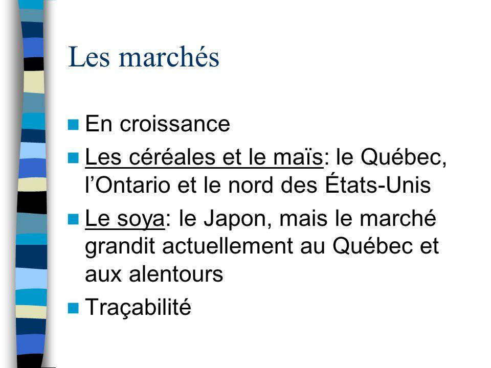 Les marchés En croissance Les céréales et le maïs: le Québec, l'Ontario et le nord des États-Unis Le soya: le Japon, mais le marché grandit actuellement au Québec et aux alentours Traçabilité