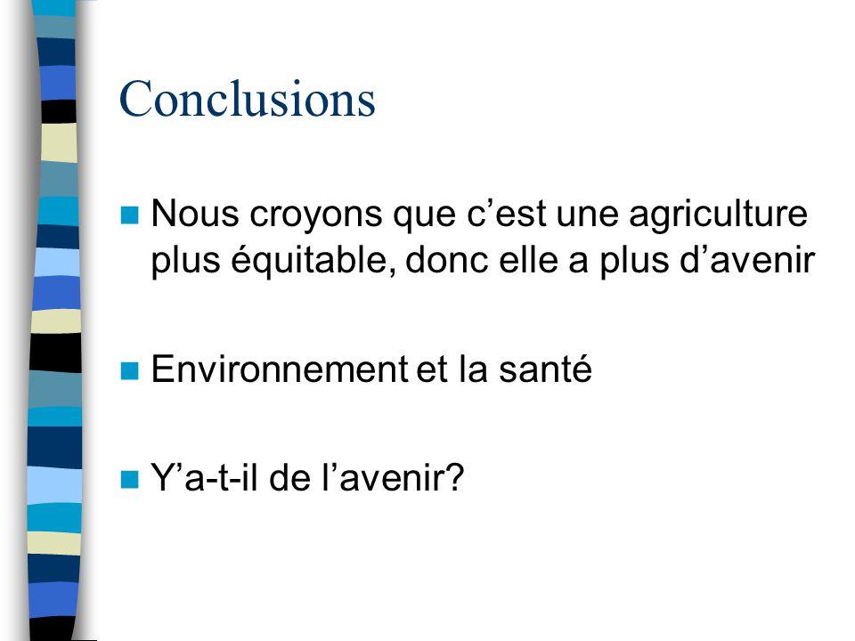 Conclusions Nous croyons que c'est une agriculture plus équitable, donc elle a plus d'avenir Environnement et la santé Y'a-t-il de l'avenir?