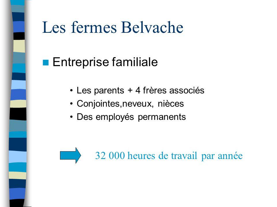 Les fermes Belvache Entreprise familiale Les parents + 4 frères associés Conjointes,neveux, nièces Des employés permanents 32 000 heures de travail pa