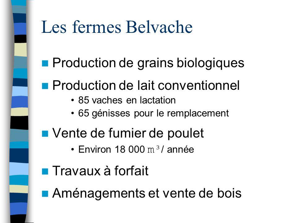 Les fermes Belvache Production de grains biologiques Production de lait conventionnel 85 vaches en lactation 65 génisses pour le remplacement Vente de fumier de poulet Environ 18 000 m³ / année Travaux à forfait Aménagements et vente de bois