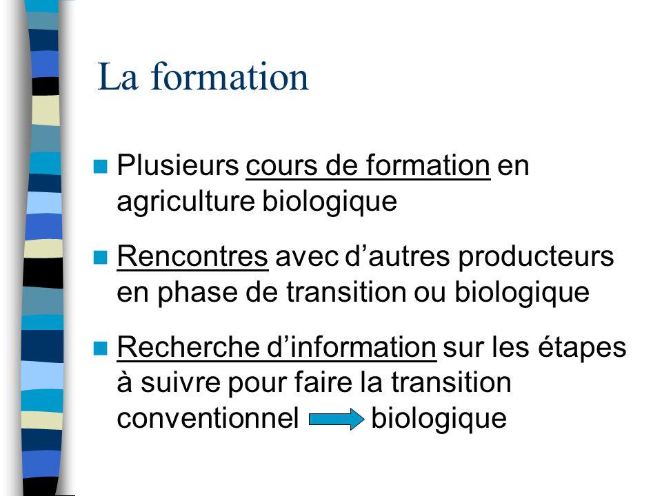 La formation Plusieurs cours de formation en agriculture biologique Rencontres avec d'autres producteurs en phase de transition ou biologique Recherche d'information sur les étapes à suivre pour faire la transition conventionnel biologique