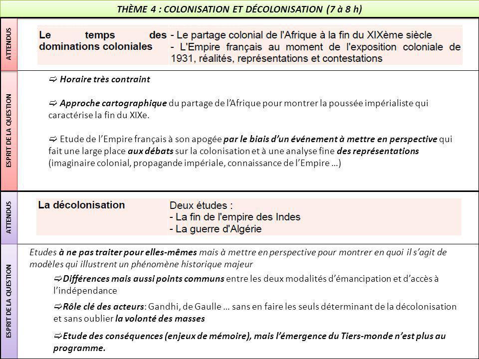 THÈME 4 : COLONISATION ET DÉCOLONISATION (7 à 8 h) ESPRIT DE LA QUESTION ATTENDUS ESPRIT DE LA QUESTION  Horaire très contraint  Approche cartograph