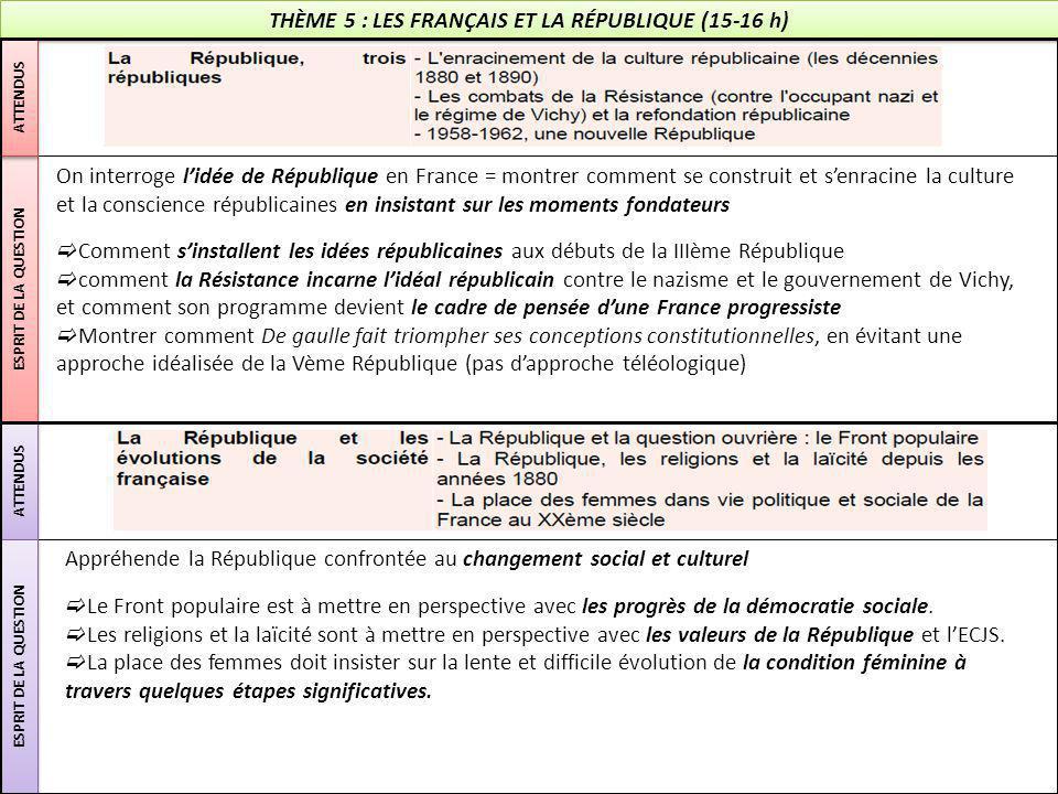 THÈME 5 : LES FRANÇAIS ET LA RÉPUBLIQUE (15-16 h) ESPRIT DE LA QUESTION ATTENDUS ESPRIT DE LA QUESTION On interroge l'idée de République en France = m