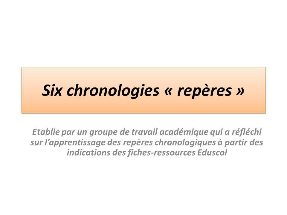 Six chronologies « repères » Etablie par un groupe de travail académique qui a réfléchi sur l'apprentissage des repères chronologiques à partir des in