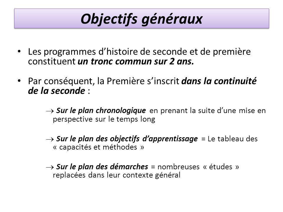 Objectifs généraux Les programmes d'histoire de seconde et de première constituent un tronc commun sur 2 ans. Par conséquent, la Première s'inscrit da