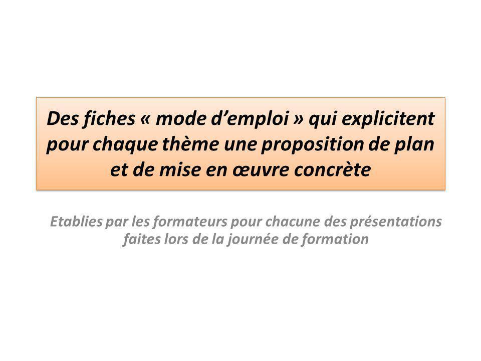 Des fiches « mode d'emploi » qui explicitent pour chaque thème une proposition de plan et de mise en œuvre concrète Etablies par les formateurs pour c