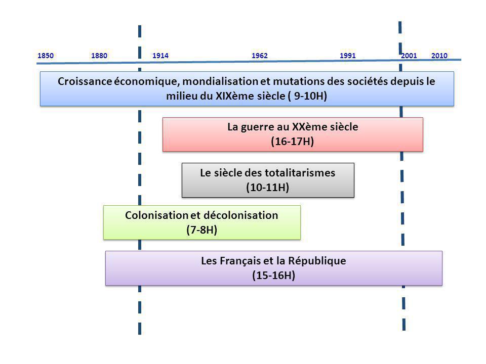 Croissance économique, mondialisation et mutations des sociétés depuis le milieu du XIXème siècle ( 9-10H) La guerre au XXème siècle (16-17H) La guerr