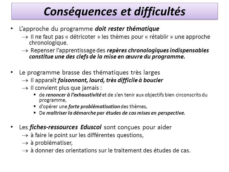 Conséquences et difficultés L'approche du programme doit rester thématique  Il ne faut pas « détricoter » les thèmes pour « rétablir » une approche c