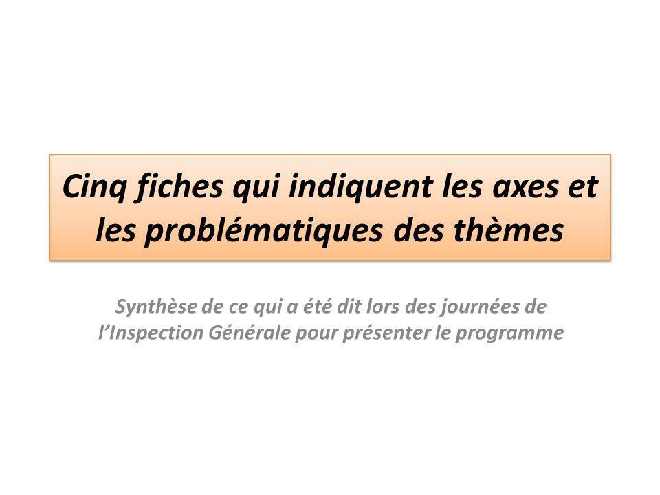 Cinq fiches qui indiquent les axes et les problématiques des thèmes Synthèse de ce qui a été dit lors des journées de l'Inspection Générale pour prése