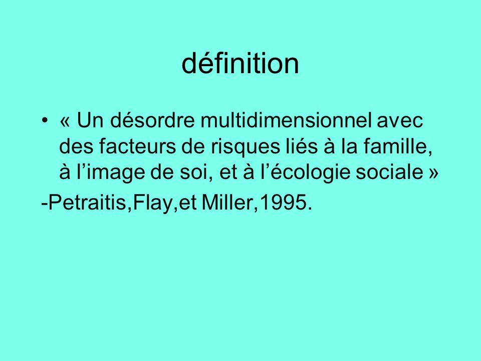 définition « Un désordre multidimensionnel avec des facteurs de risques liés à la famille, à l'image de soi, et à l'écologie sociale » -Petraitis,Flay