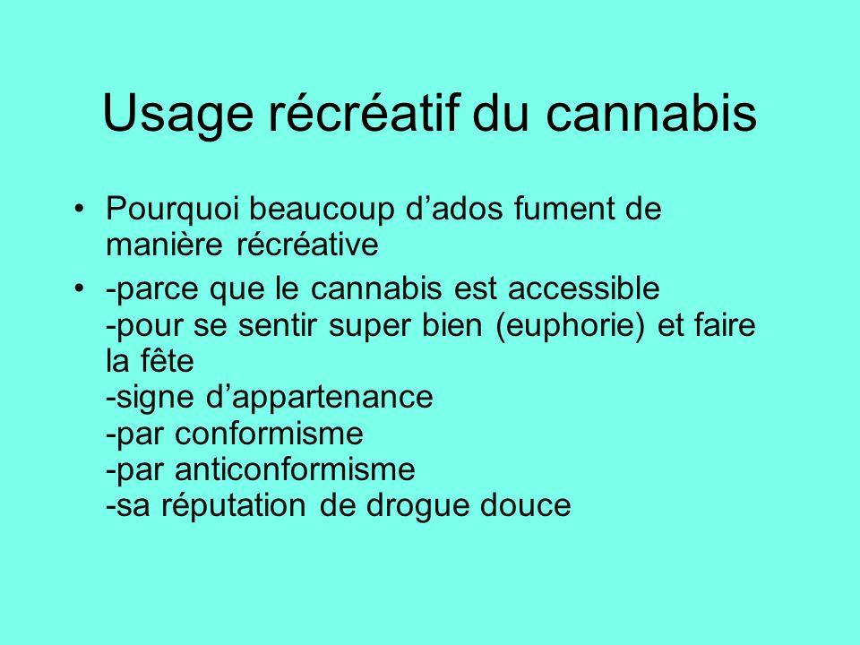 Usage récréatif du cannabis Pourquoi beaucoup d'ados fument de manière récréative -parce que le cannabis est accessible -pour se sentir super bien (eu