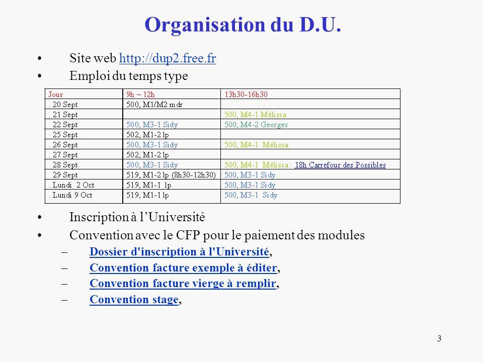 3 Site web http://dup2.free.frhttp://dup2.free.fr Emploi du temps type Inscription à l'Université Convention avec le CFP pour le paiement des modules