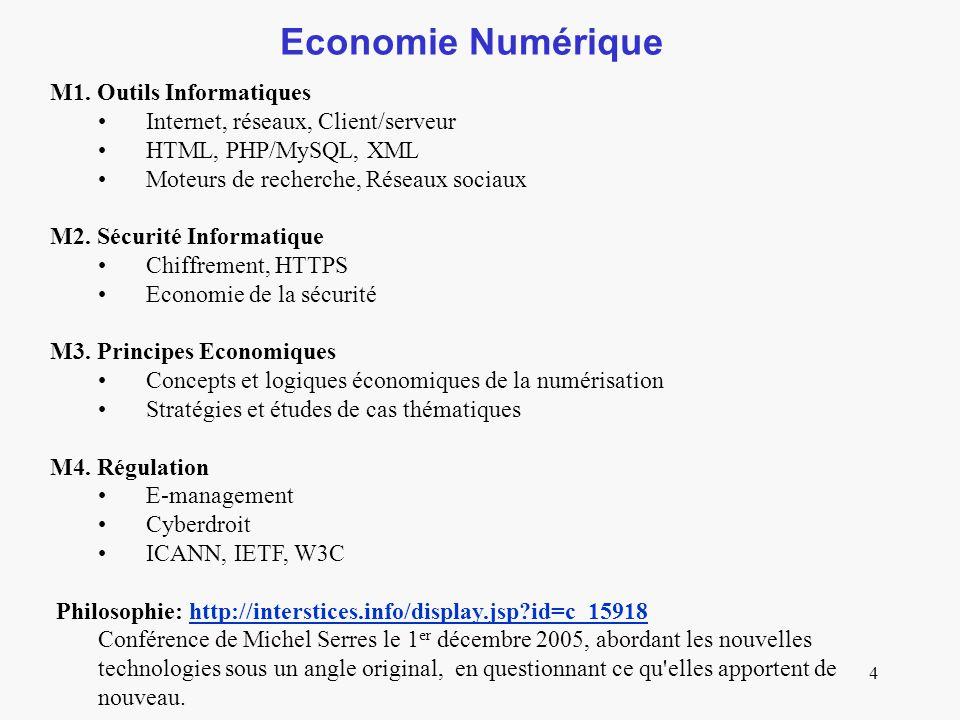 4 Economie Numérique M1. Outils Informatiques Internet, réseaux, Client/serveur HTML, PHP/MySQL, XML Moteurs de recherche, Réseaux sociaux M2. Sécurit
