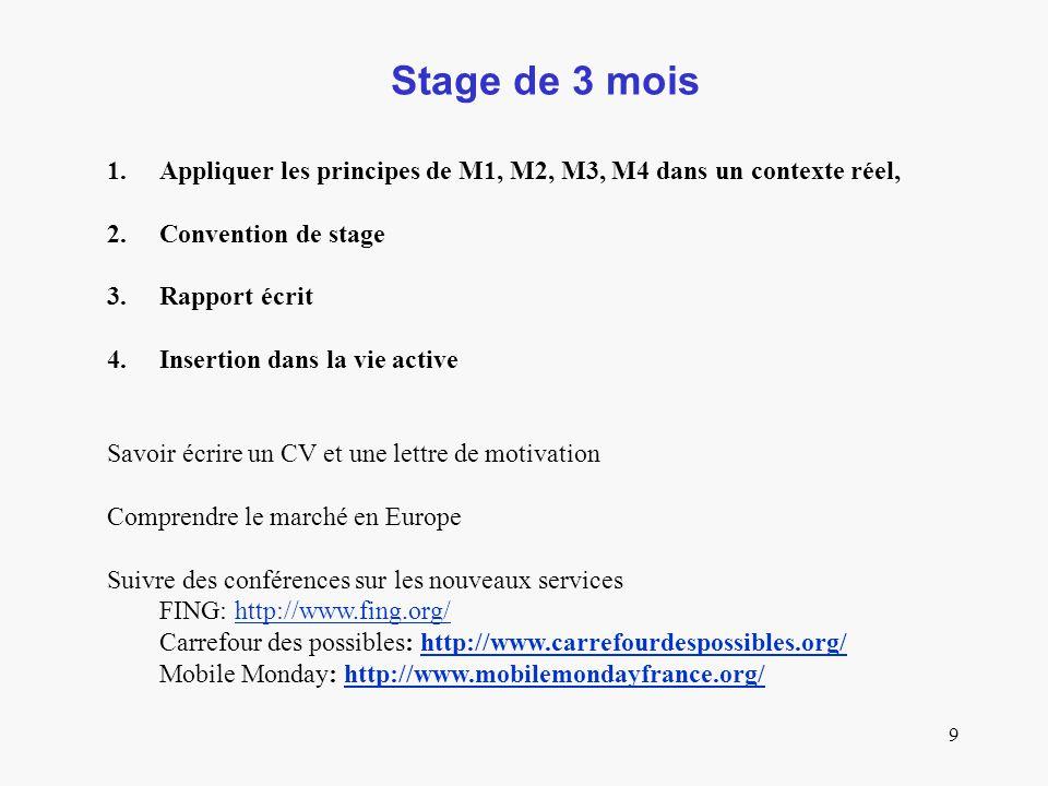 9 Stage de 3 mois 1.Appliquer les principes de M1, M2, M3, M4 dans un contexte réel, 2.Convention de stage 3.Rapport écrit 4.Insertion dans la vie active Savoir écrire un CV et une lettre de motivation Comprendre le marché en Europe Suivre des conférences sur les nouveaux services FING: http://www.fing.org/http://www.fing.org/ Carrefour des possibles: http://www.carrefourdespossibles.org/http://www.carrefourdespossibles.org/ Mobile Monday: http://www.mobilemondayfrance.org/http://www.mobilemondayfrance.org/