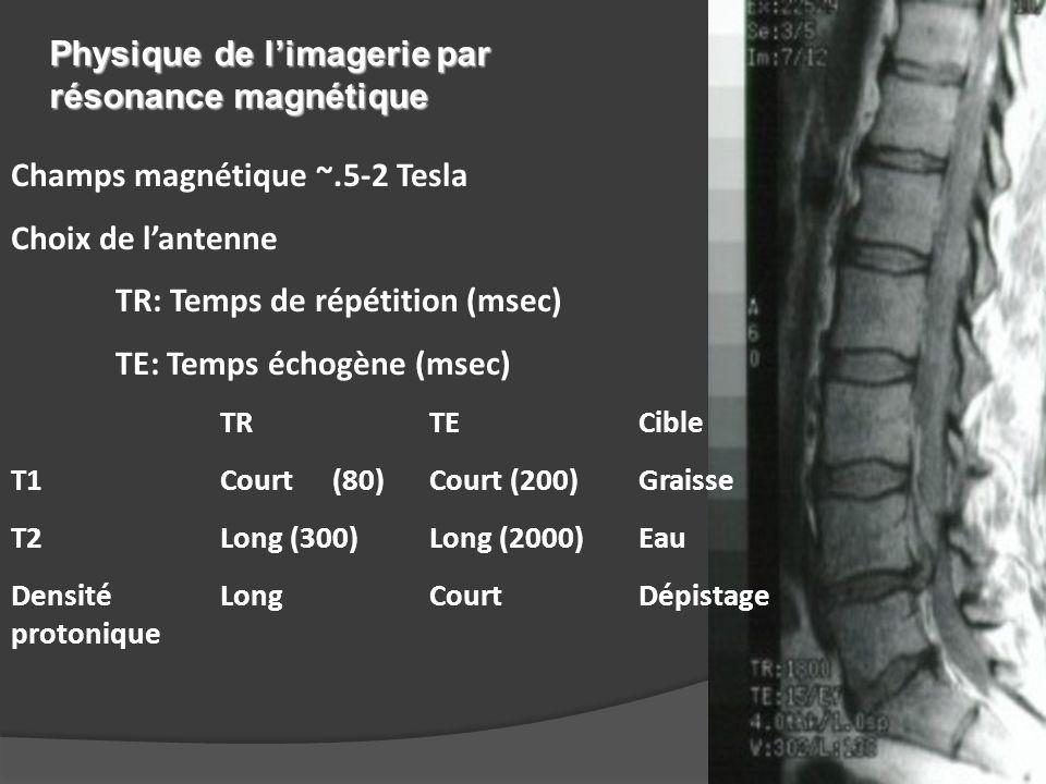 Champs magnétique ~.5-2 Tesla Choix de l'antenne TR: Temps de répétition (msec) TE: Temps échogène (msec) TRTECible T1Court Court Graisse T2Long Long Eau Densité LongCourtDépistage protonique Physique de l'imagerie par résonance magnétique