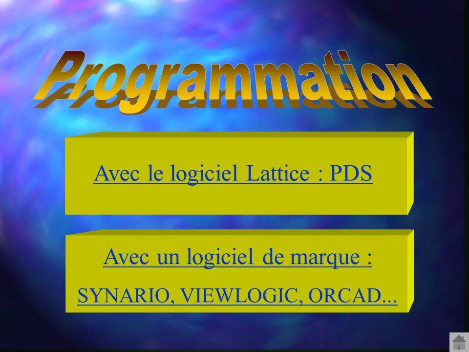 Avec le logiciel Lattice : PDS Avec un logiciel de marque : SYNARIO, VIEWLOGIC, ORCAD...