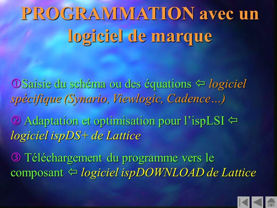 PROGRAMMATION avec un logiciel de marque  Saisie du schéma ou des équations  logiciel spécifique (Synario, Viewlogic, Cadence…)  Adaptation et optimisation pour l'ispLSI  logiciel ispDS+ de Lattice  Téléchargement du programme vers le composant  logiciel ispDOWNLOAD de Lattice