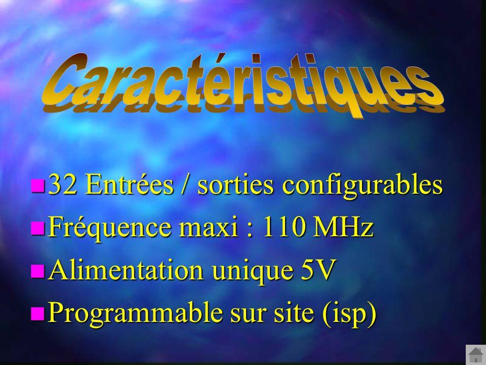 n 32 Entrées / sorties configurables n Fréquence maxi : 110 MHz n Alimentation unique 5V n Programmable sur site (isp)