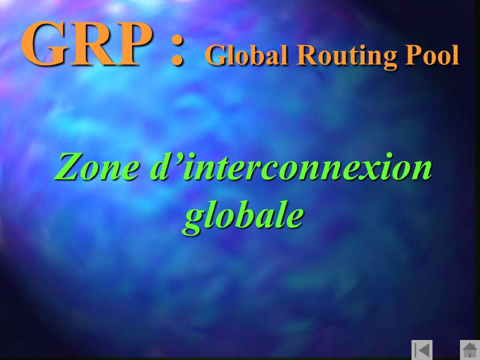GRP : Global Routing Pool Zone d'interconnexion globale
