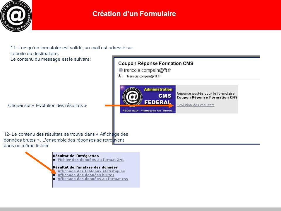 Création d'un Formulaire 11- Lorsqu'un formulaire est validé, un mail est adressé sur la boite du destinataire. Le contenu du message est le suivant :