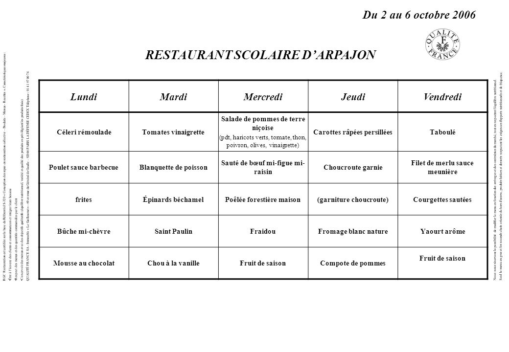 LundiMardiMercrediJeudiVendredi Céleri rémouladeTomates vinaigrette Salade de pommes de terre niçoise (pdt, haricots verts, tomate, thon, poivron, oli