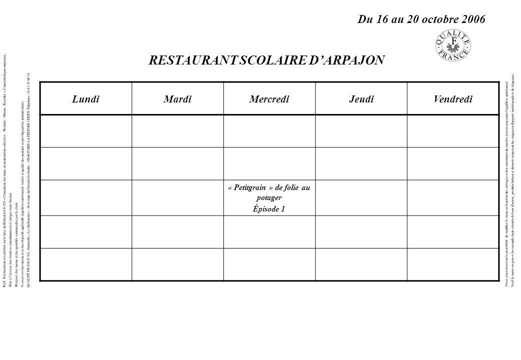 LundiMardiMercrediJeudiVendredi « Petitgrain » de folie au potager Épisode 1 RGC Restauration est certifiée sur la base du Référentiel S-320 « Concept