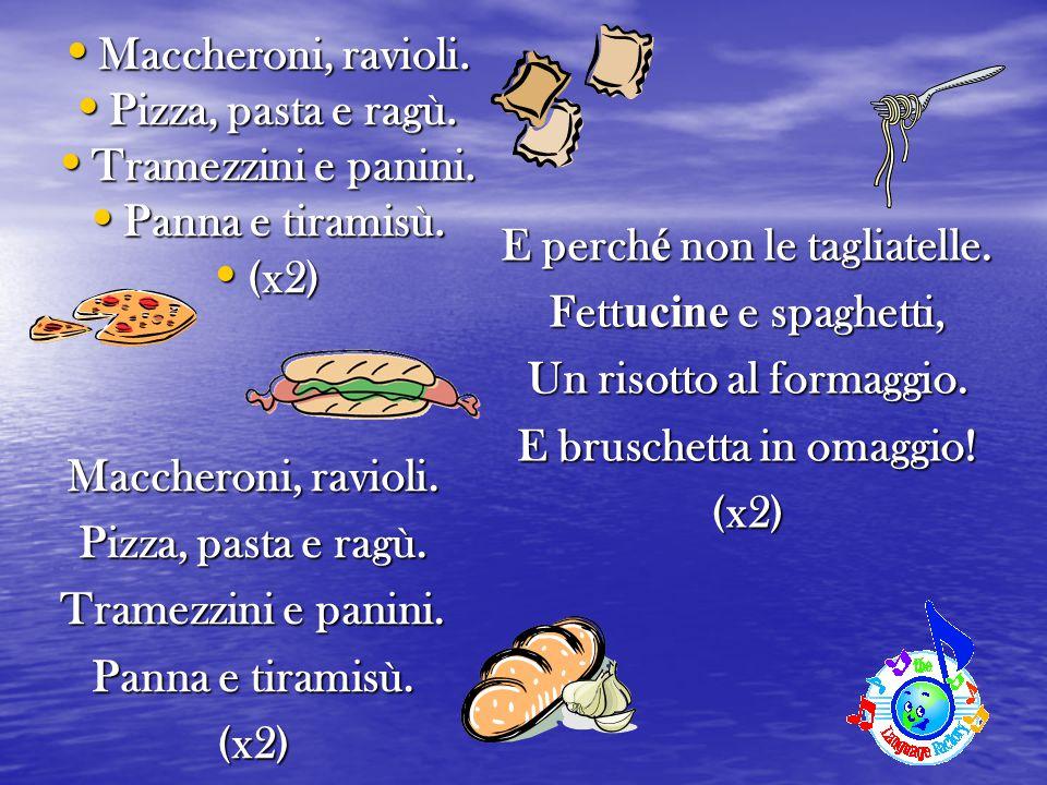 Maccheroni, ravioli. Maccheroni, ravioli. Pizza, pasta e ragù. Pizza, pasta e ragù. Tramezzini e panini. Tramezzini e panini. Panna e tiramisù. Panna