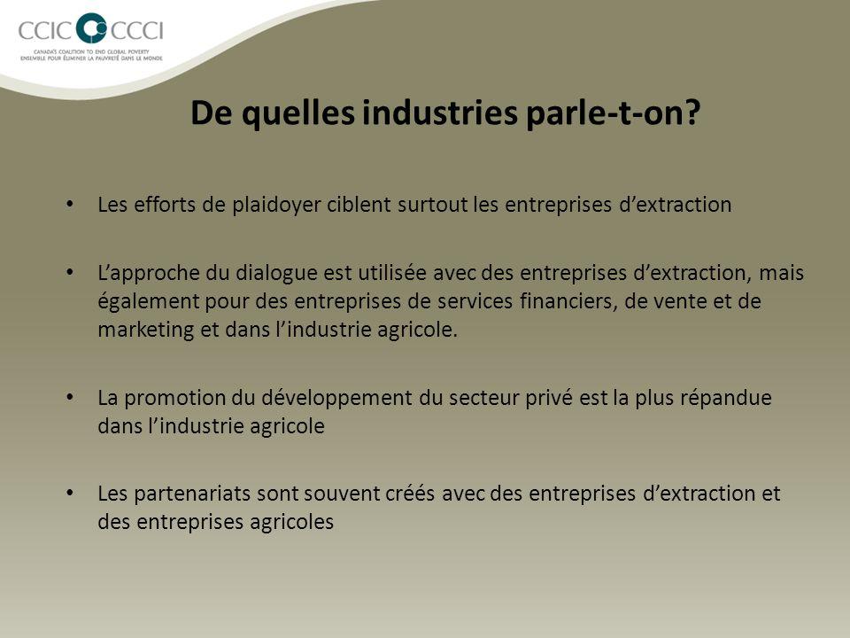 De quelles industries parle-t-on? Les efforts de plaidoyer ciblent surtout les entreprises d'extraction L'approche du dialogue est utilisée avec des e