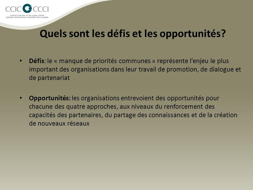 Quels sont les défis et les opportunités? Défis: le « manque de priorités communes » représente l'enjeu le plus important des organisations dans leur