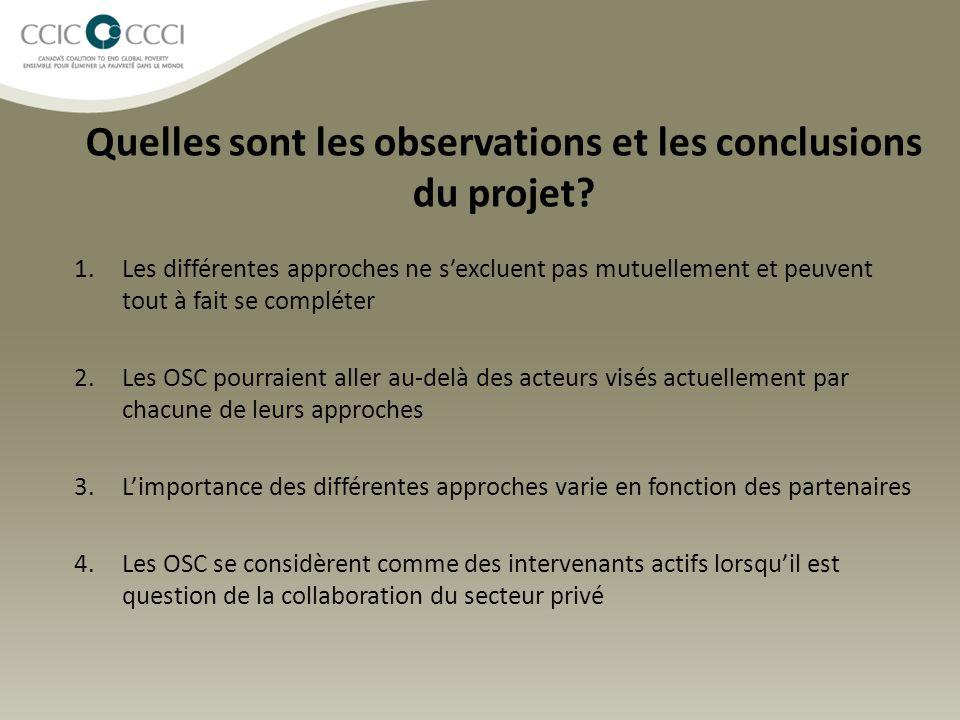 Quelles sont les observations et les conclusions du projet? 1.Les différentes approches ne s'excluent pas mutuellement et peuvent tout à fait se compl
