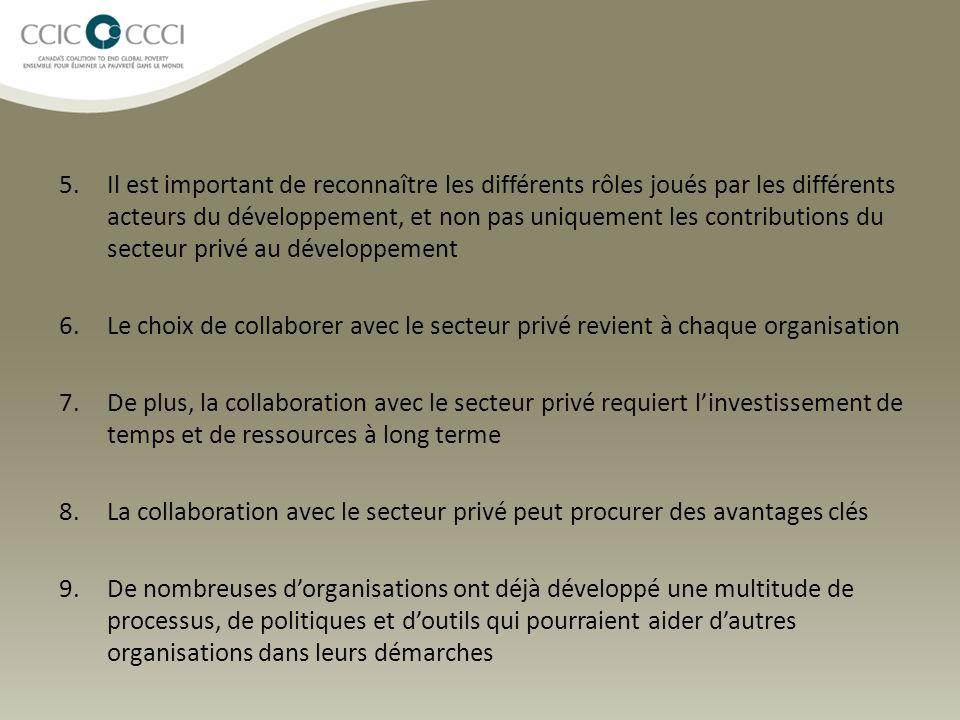 5.Il est important de reconnaître les différents rôles joués par les différents acteurs du développement, et non pas uniquement les contributions du secteur privé au développement 6.Le choix de collaborer avec le secteur privé revient à chaque organisation 7.De plus, la collaboration avec le secteur privé requiert l'investissement de temps et de ressources à long terme 8.La collaboration avec le secteur privé peut procurer des avantages clés 9.De nombreuses d'organisations ont déjà développé une multitude de processus, de politiques et d'outils qui pourraient aider d'autres organisations dans leurs démarches