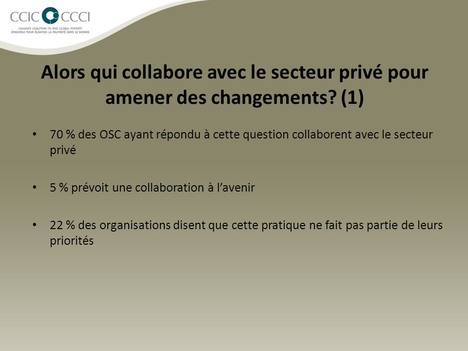 Alors qui collabore avec le secteur privé pour amener des changements? (1) 70 % des OSC ayant répondu à cette question collaborent avec le secteur pri