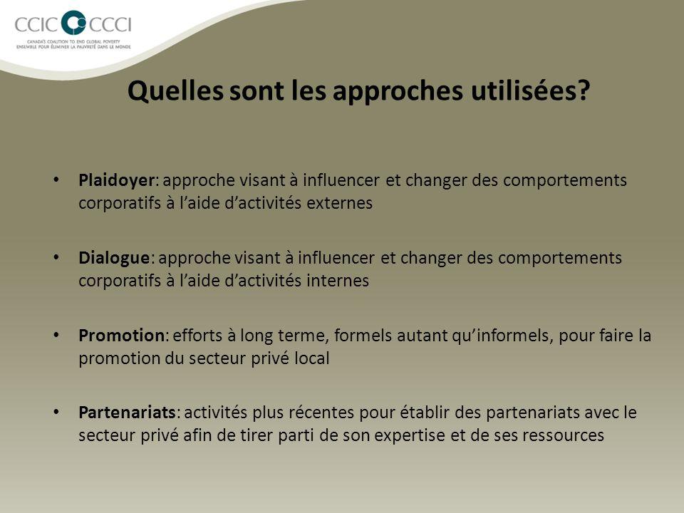 Quelles sont les approches utilisées? Plaidoyer: approche visant à influencer et changer des comportements corporatifs à l'aide d'activités externes D