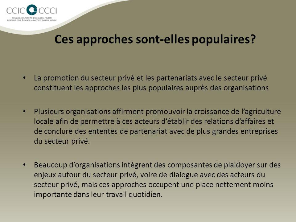 Ces approches sont-elles populaires? La promotion du secteur privé et les partenariats avec le secteur privé constituent les approches les plus popula