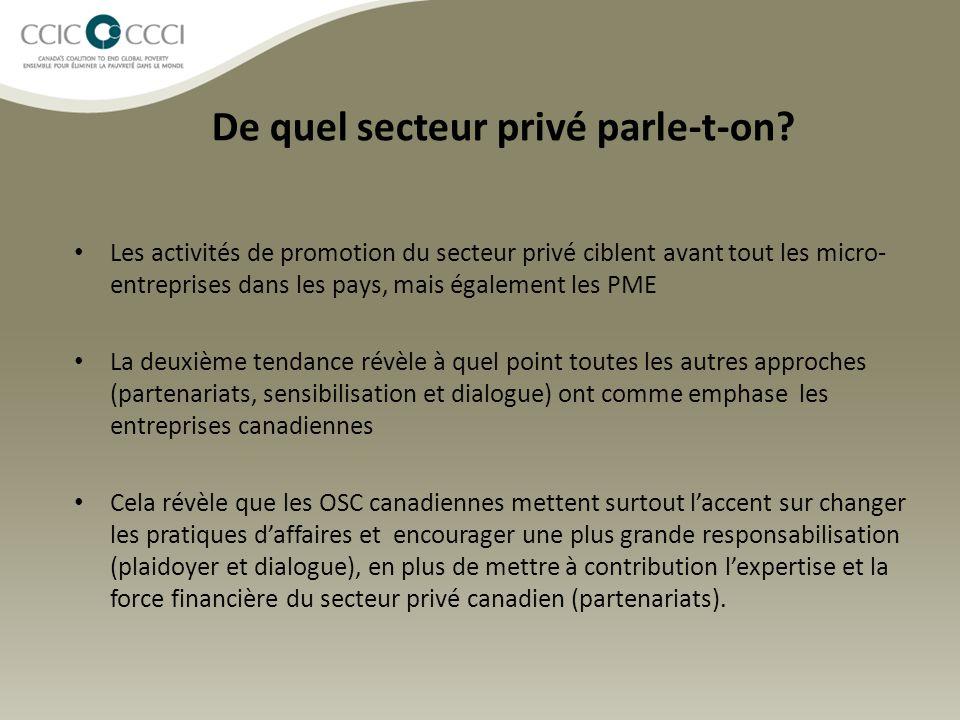 De quel secteur privé parle-t-on? Les activités de promotion du secteur privé ciblent avant tout les micro- entreprises dans les pays, mais également