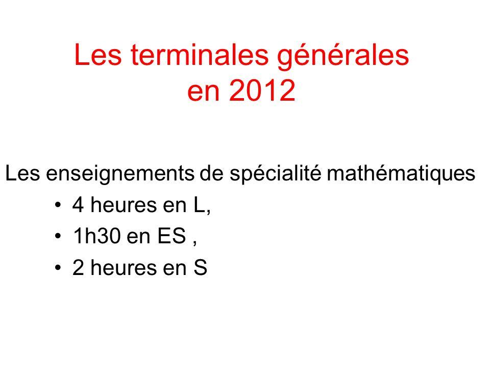 Les terminales générales en 2012 Les enseignements de spécialité mathématiques 4 heures en L, 1h30 en ES, 2 heures en S