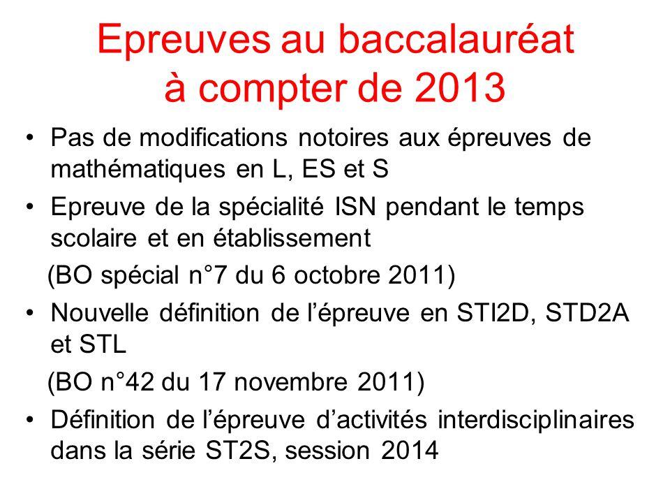 Epreuves au baccalauréat à compter de 2013 Pas de modifications notoires aux épreuves de mathématiques en L, ES et S Epreuve de la spécialité ISN pend