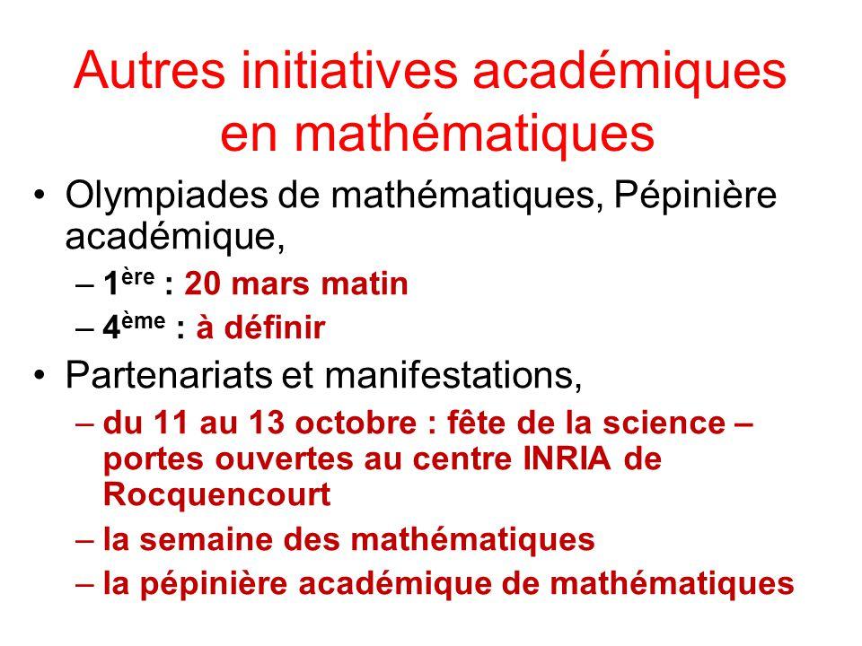 Autres initiatives académiques en mathématiques Olympiades de mathématiques, Pépinière académique, –1 ère : 20 mars matin –4 ème : à définir Partenari