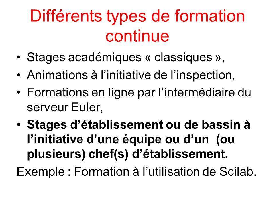 Différents types de formation continue Stages académiques « classiques », Animations à l'initiative de l'inspection, Formations en ligne par l'intermé