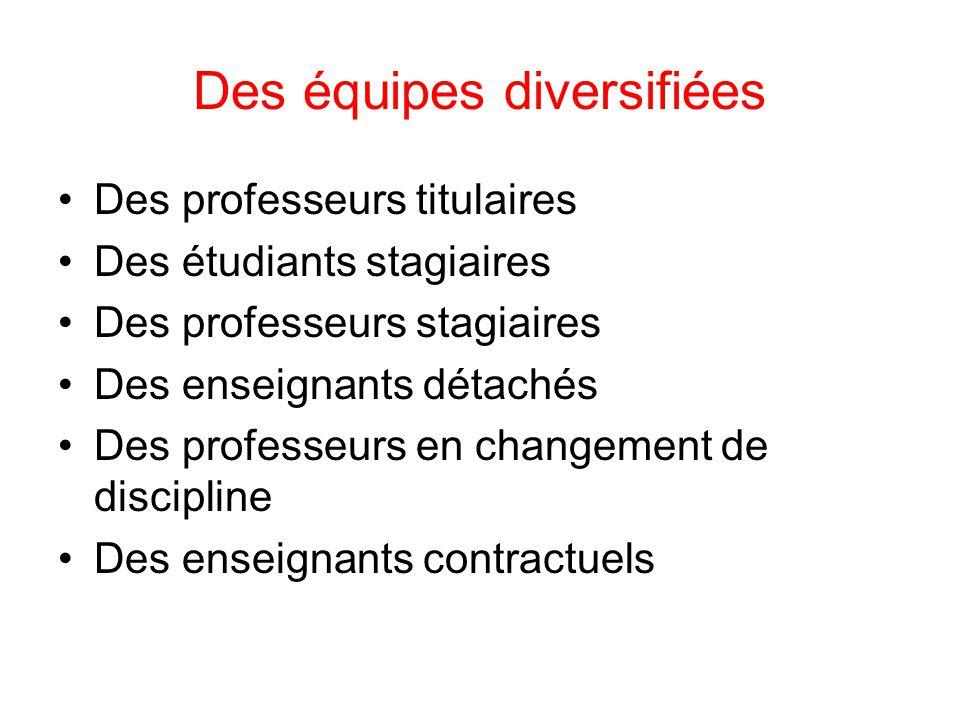Des équipes diversifiées Des professeurs titulaires Des étudiants stagiaires Des professeurs stagiaires Des enseignants détachés Des professeurs en ch