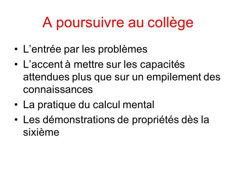 A poursuivre au collège L'entrée par les problèmes L'accent à mettre sur les capacités attendues plus que sur un empilement des connaissances La prati