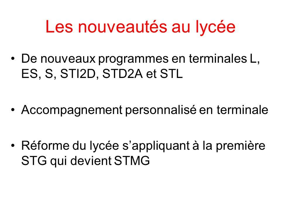 Les nouveautés au lycée De nouveaux programmes en terminales L, ES, S, STI2D, STD2A et STL Accompagnement personnalisé en terminale Réforme du lycée s