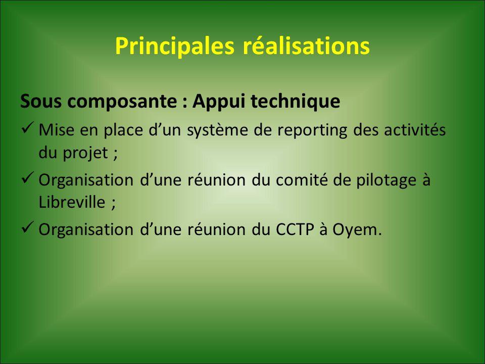 Principales réalisations Sous composante : Appui technique Mise en place d'un système de reporting des activités du projet ; Organisation d'une réunio