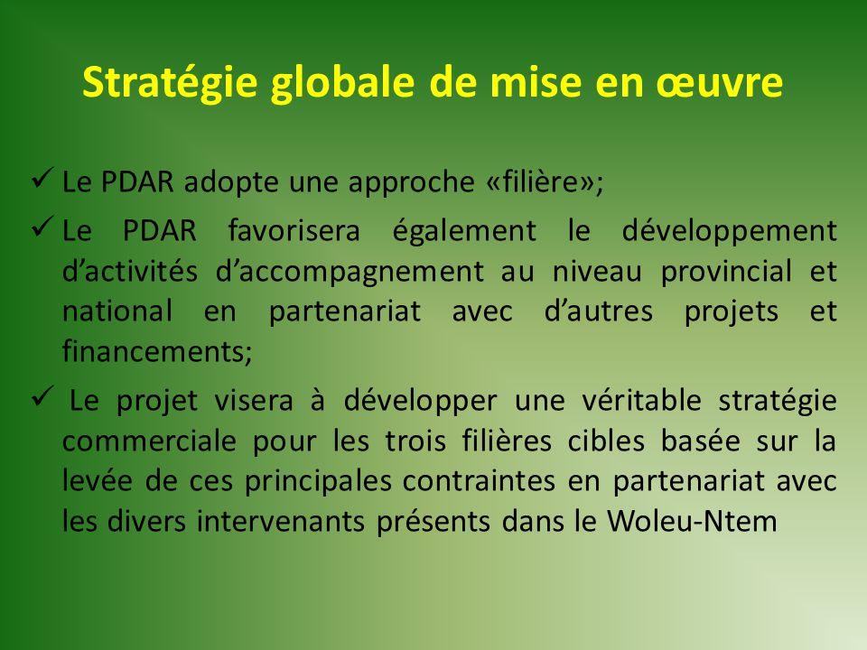 Stratégie globale de mise en œuvre Le PDAR adopte une approche «filière»; Le PDAR favorisera également le développement d'activités d'accompagnement a