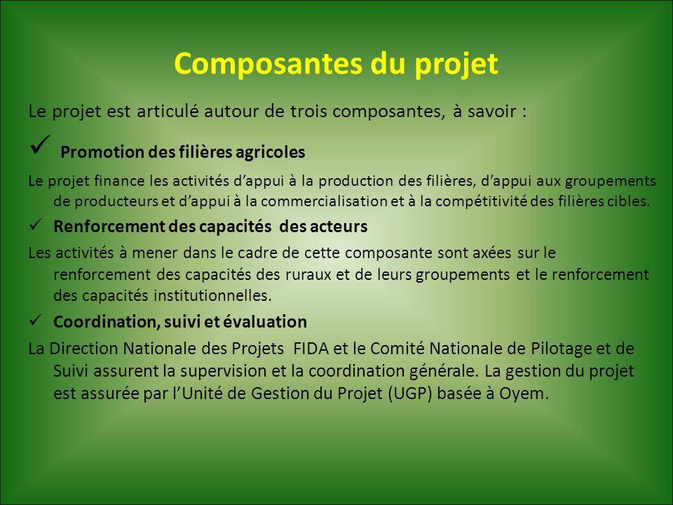 Composantes du projet Le projet est articulé autour de trois composantes, à savoir : Promotion des filières agricoles Le projet finance les activités